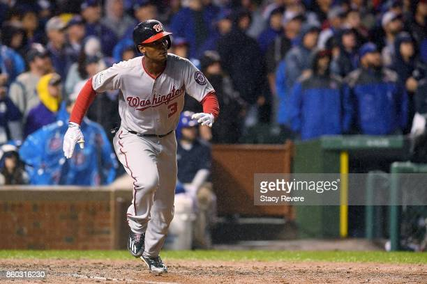 Michael A Taylor of the Washington Nationals hits a grand slam in the eighth inning during game four of the National League Division Series against...