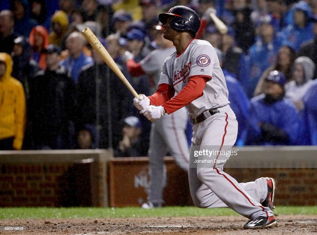 Michael A. Taylor #3 of the Washington Nationals hits a grand slam in the eighth inning during game four of the National League Division Series against the Chicago Cubs at Wrigley Field on October 11, 2017 in Chicago, Illinois.