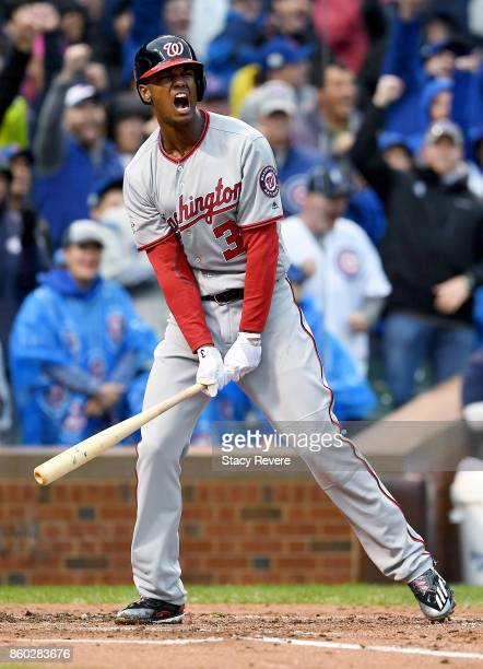 Michael A Taylor of the Washington Nationals reacts after striking out in the second inning during game four of the National League Division Series...