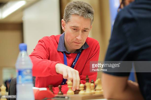 Michael Adams from England plays during the 1/16 final day World Chess Cup 2015