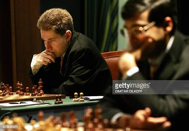 Michael Adams of England plays against Judith Polgar of Hungary , as Indian Viswanathan Anand plays against Veselin Topalov of Bulgaria during the...