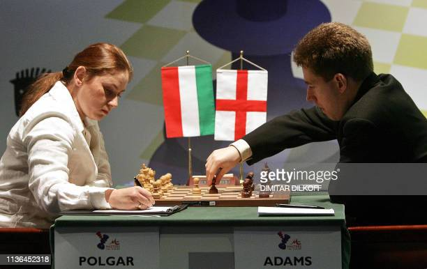 Michael Adams of England plays against Judith Polgar of Hungary during the seventh round of the M-Tel Masters Chess Tournament in Sofia, 18 May 2005....