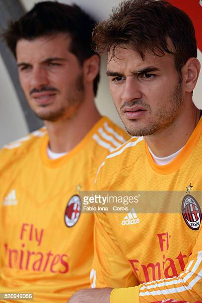 Michael Agazzi and Gabriel of AC Milan in action during the friendly match between AC Milan and AC Monza at Brianteo Stadium on July 20 in Monza Italy