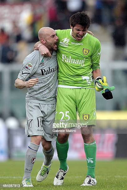 Michael Agazzi and Roberto Guana of AC Chievo Verona celebrate the victory after the Serie A match between AS Livorno Calcio and AC Chievo Verona at...