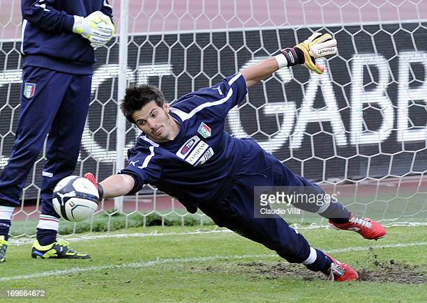 Michael Agazzi during an Italy training session at Renato Dall'Ara stadium on May 30 2013 in Bologna Italy