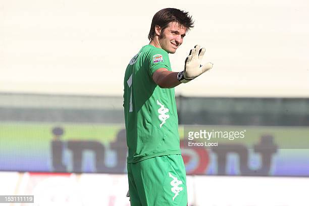 Michael Agazzi during the Serie A match between Cagliari Calcio and Pescara at Stadio Is Arenas on September 30 2012 in Cagliari Italy