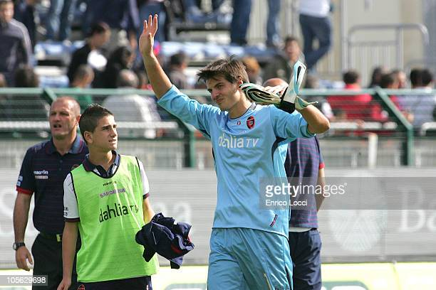 Michael Agazzi gestures during the Serie A match between Cagliari Calcio and FC Internazionale Milano at Stadio Sant'Elia on October 17 2010 in...