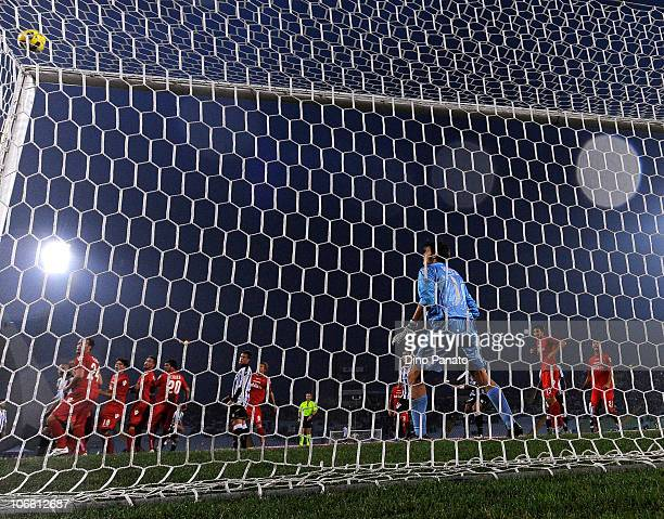Michael Agazzi goal keeper of Cagliari in action during the Serie A match between Udinese and Cagliari at Stadio Friuli on November 7 2010 in Udine...