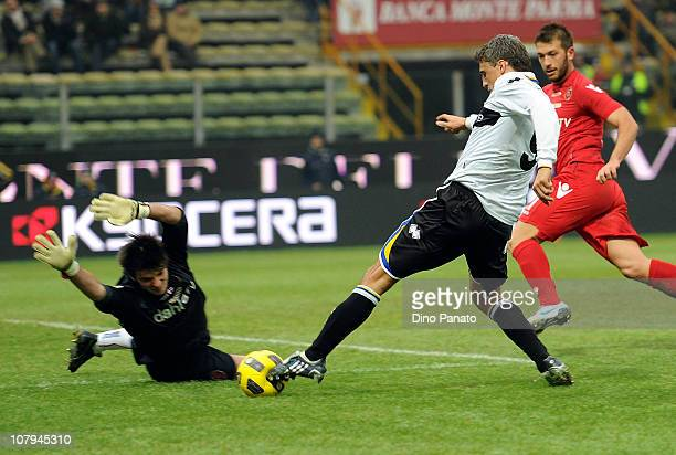 Michael Agazzi goal keeper of Cagliari saves at the feet of Hernan Crespo of Parma during the Serie A match between Parma FC and Cagliari Calcio at...