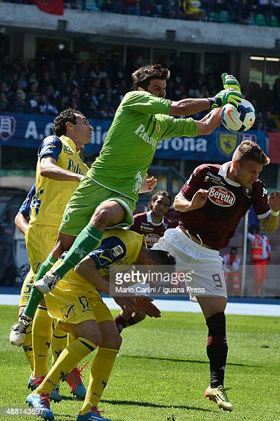 Michael Agazzi goalkeeper of AC Chievo Verona makes a save during the Serie A match between AC Chievo Verona and Torino FC at Stadio Marc'Antonio...