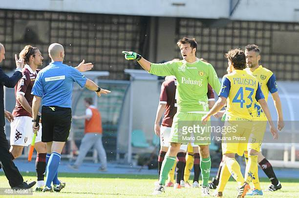 Michael Agazzi goalkeeper of AC Chievo Verona reacts at the end of the Serie A match between AC Chievo Verona and Torino FC at Stadio Marc'Antonio...