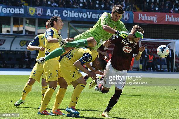 Michael Agazzi goalkeeper of AC Chievo Verona saves his goal during the Serie A match between AC Chievo Verona and Torino FC at Stadio Marc'Antonio...