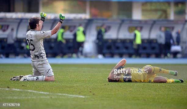 Michael Agazzi goalkeepr of Chievo Verona celebrates victory after the Serie A match between AC Chievo Verona and Genoa CFC at Stadio Marc'Antonio...