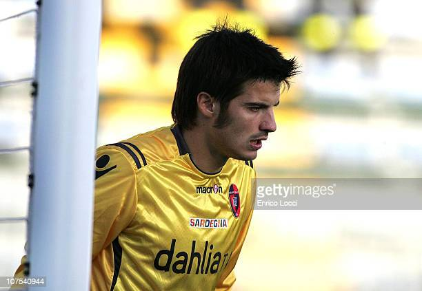 Michael Agazzi looks on during the Serie A match between Cagliari and Catania at Stadio Sant'Elia on December 12 2010 in Cagliari Italy