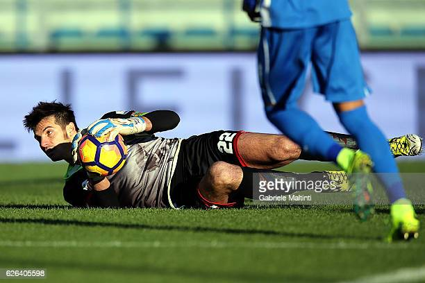 Michael Agazzi of AC Cesena in action during the TIM Cup match between Empoli FC and AC Cesena at Stadio Carlo Castellani on November 29 2016 in...
