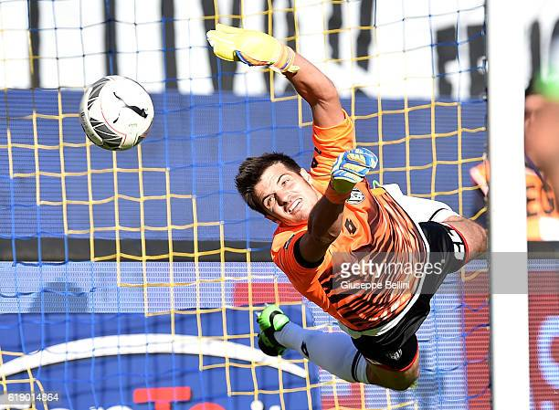 Michael Agazzi of AC Cesena undergoes the opening goal from Luca Paganini during the Serie B match between Frosinone Calcio and AC Cesena at Stadio...