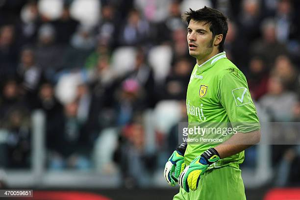 Michael Agazzi of AC Chievo Verona looks on during the Serie A match between Juventus and AC Chievo Verona at Juventus Arena on February 16 2014 in...