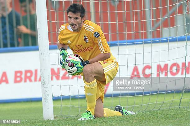 Michael Agazzi of AC Milan in action during the friendly match between AC Milan and AC Monza at Brianteo Stadium on July 20 in Monza Italy