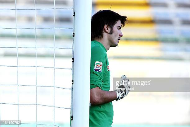 Michael Agazzi of Cagliari Calcio looks on during the Serie A match between Cagliari Calcio and Bologna FC at Stadio Sant'Elia on November 27 2011 in...