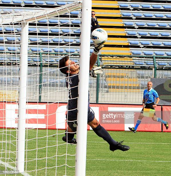Michael Agazzi of Cagliari dives to attempt a save during the Serie A match between Cagliari Calcio and Udinese Calcio at Stadio Sant'Elia on...