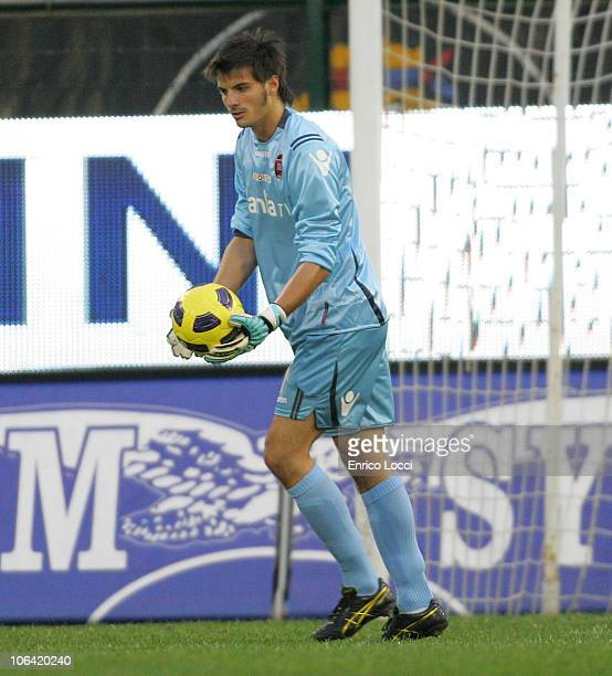 Michael Agazzi of Cagliari in action during the Serie A match between Cagliari and Bologna at Stadio Sant'Elia on October 31 2010 in Cagliari Italy