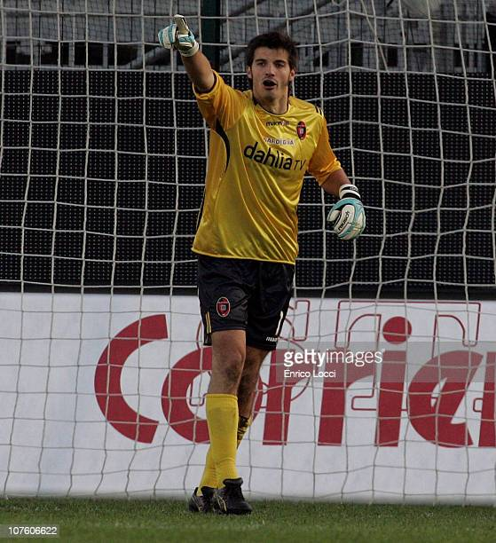 Michael Agazzi of Cagliari in action during the Serie A match between Cagliari and Catania at Stadio Sant'Elia on December 12 2010 in Cagliari Italy
