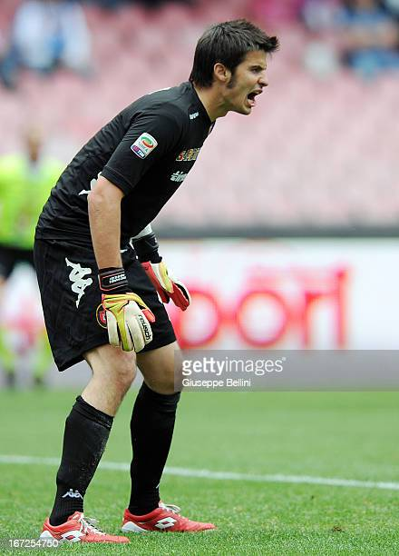 Michael Agazzi of Cagliari in action during the Serie A match between SSC Napoli and Cagliari Calcio at Stadio San Paolo on April 21 2013 in Naples...