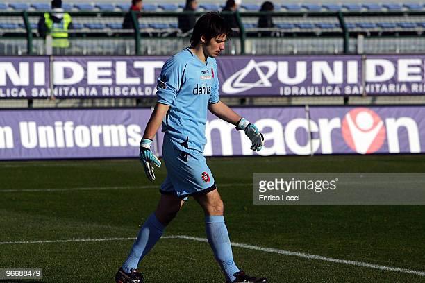 Michael Agazzi of Cagliari looks on during the Serie A match between Cagliari Calcio and AS Bari at Stadio Sant'Elia on February 14 2010 in Cagliari...