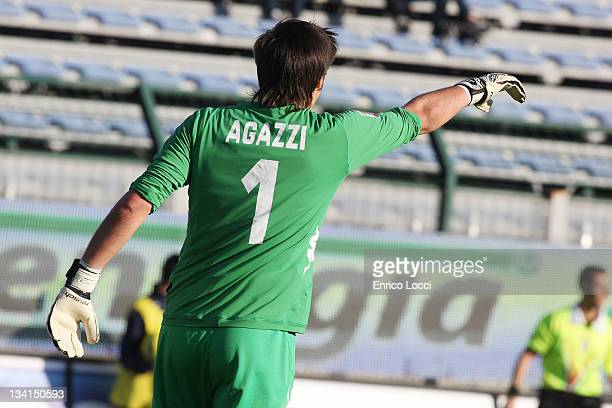 Michael Agazzi of Cagliarii during the Serie A match between Cagliari Calcio and Bologna FC at Stadio Sant'Elia on November 27 2011 in Cagliari Italy