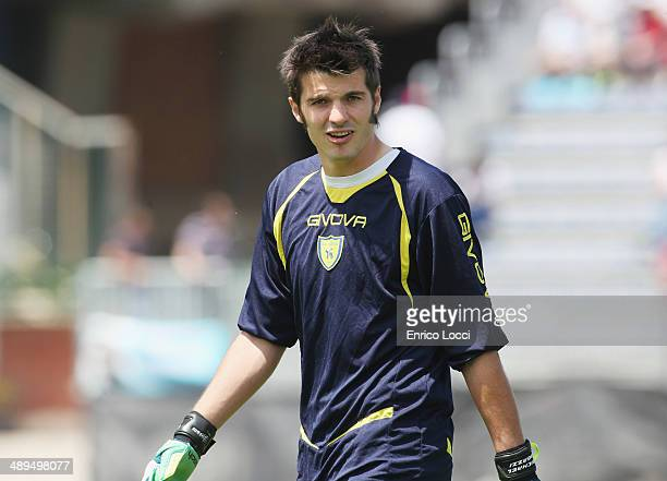 Michael Agazzi of Chievo looks during the Serie A match between Cagliari Calcio and AC Chievo Verona at Stadio Sant'Elia on May 11 2014 in Cagliari...