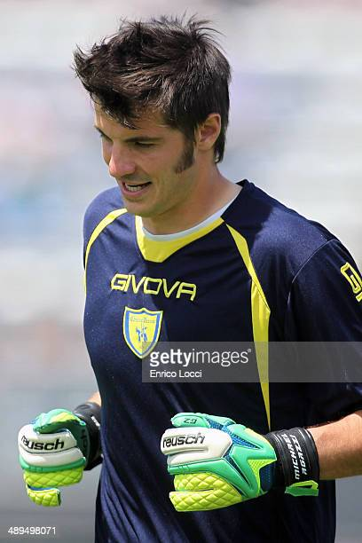 Michael Agazzi of Chievo looks on during the Serie A match between Cagliari Calcio and AC Chievo Verona at Stadio Sant'Elia on May 11 2014 in...