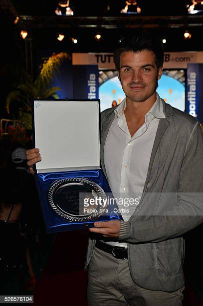 Michael Agazzi with the prize for thr best goalkeeper during tuttomercato web award in Castiglioncello Italy