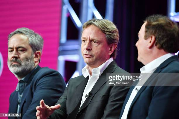 Michael Agular Dean Georgaris and David Janollari of Bluff City Law speak during the NBC segment of the 2019 Summer TCA Press Tour at The Beverly...