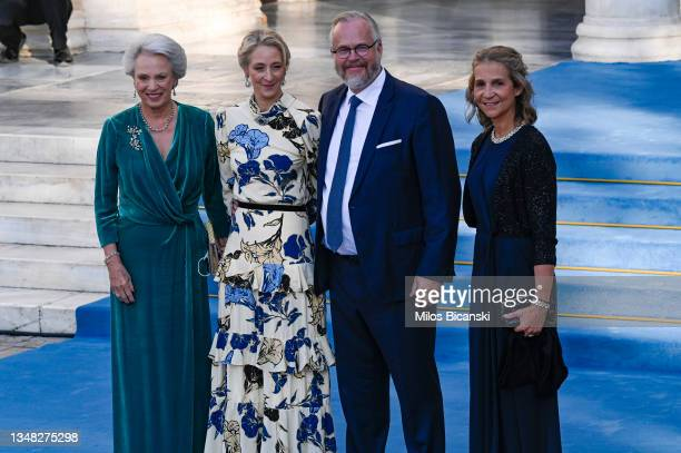 Michael Ahlefeldt-Laurvig-Bille, Princess Benedikte, Countess Alexandra and Princess Infanta Elena arrive at the Athens Orthodox Cathedral following...