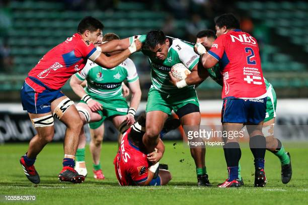 Michael Alaalatoa of Manawatu is tackled during the round six Mitre 10 Cup match between Manawatu and Tasman at Central Energy Trust Arena on...