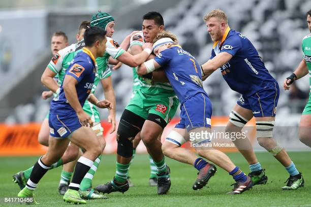 Michael Alaalatoa of Manawatu is tackled during the round three Mitre 10 Cup match between Otago and Manawatu on September 2 2017 in Dunedin New...