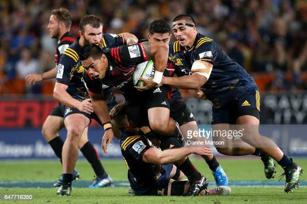 Michael Alaalatoa of the Crusaders on the charge during the round two Super Rugby match between the Highlanders and the Crusaders at Forsyth Barr...