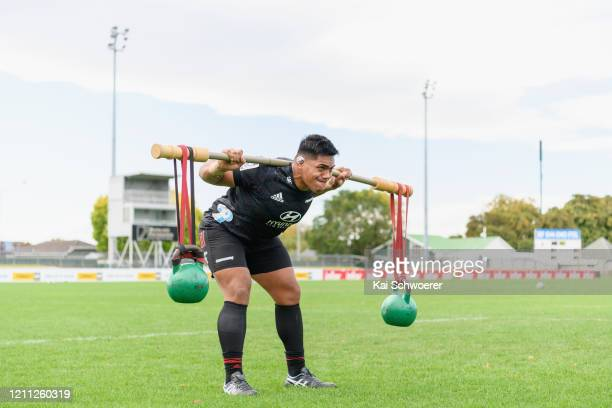 Michael Alaalatoa takes part in a drill during the Crusaders Super Rugby training session at Rugby Park on March 09, 2020 in Christchurch, New...