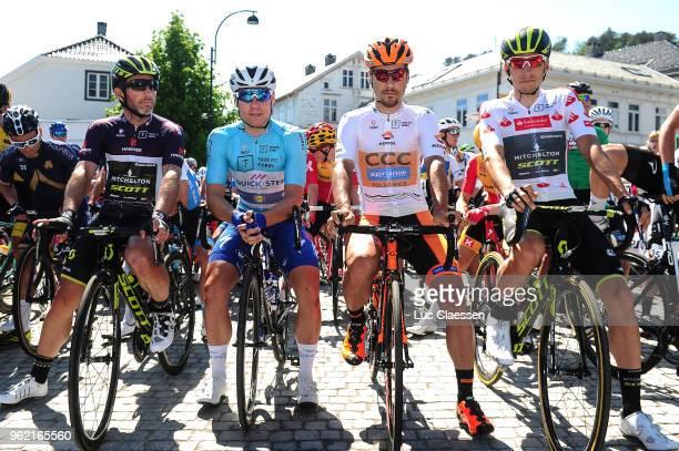 Michael Albasini of Switzerland and Team MitcheltonScott Black points jersey / Fabio Jakobsen of The Netherlands and Team QuickStep Floors Blue...