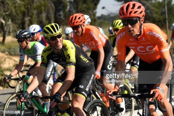 Michael Albasini of Switzerland and Team MitcheltonScott / Serge Pauwels of Belgium and CCC Team / Victor De La Parte of Spain and CCC Team / during...