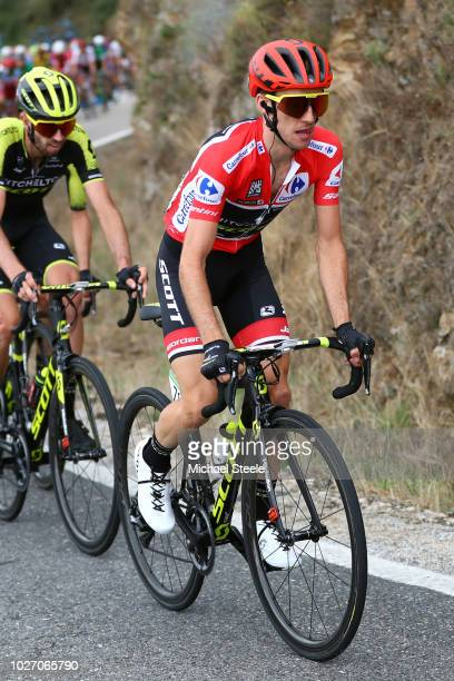 Michael Albasini of Switzerland and Team Mitchelton-Scott / Simon Yates of Great Britain and Team Mitchelton-Scott Red Leader Jersey / during the...