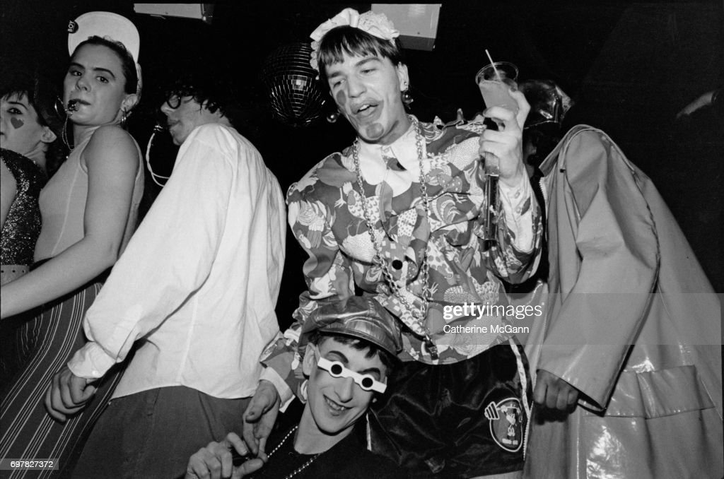 Michael Alig, center, dancing at his birthday party at nightclub Red Zone on April 29, 1989 in New York City, New York.