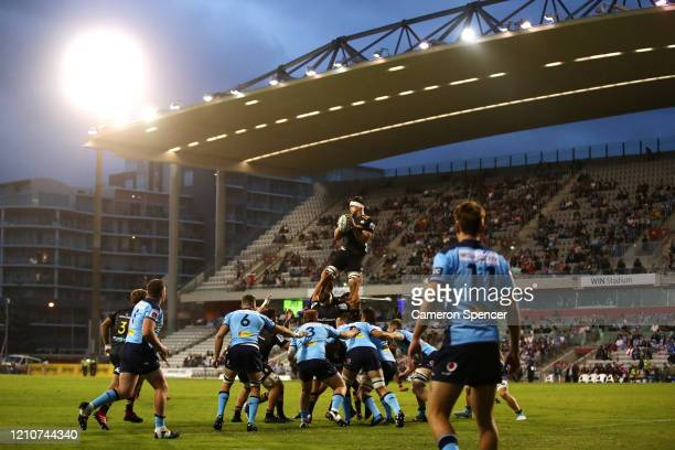 Michael Allardice of the Chiefs takes a lineout ball during the round six Super Rugby match between the Waratahs and the Chiefs at WIN Stadium on...