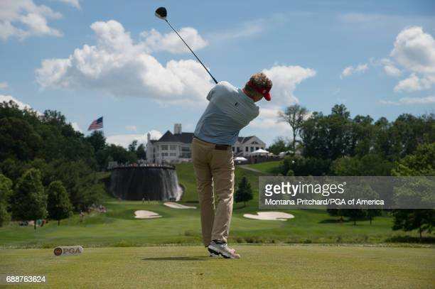 Michael Allen of the United States hits his tee shot on the first hole during Round Two for the 78th KitchenAid Senior PGA Championship at Trump...