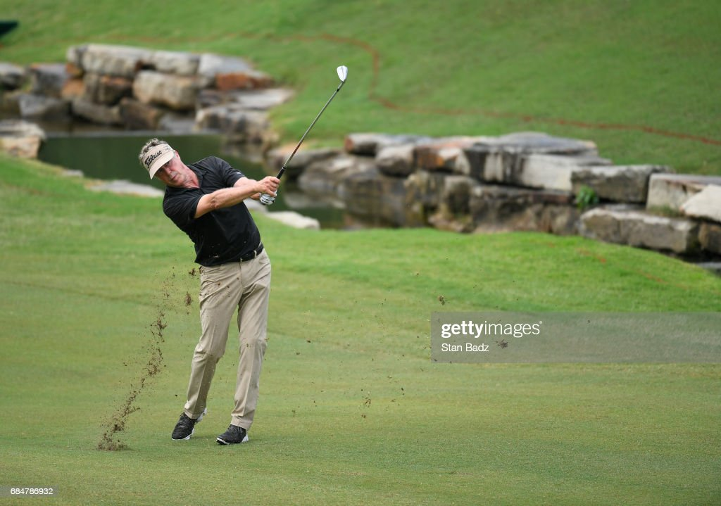 Michael Allen plays a shot on the 18th hole during the first round of the PGA TOUR Champions Regions Tradition at Greystone Golf & Country Club on May 18, 2017 in Birmingham, Alabama.
