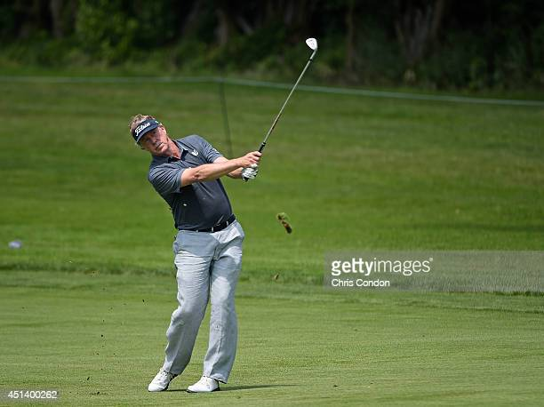 Michael Allen plays from the 10th fairway during the third round of the Constellation SENIOR PLAYERS Championship at Fox Chapel Golf Club on June 28,...