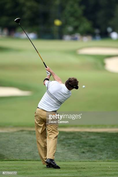 Michael Allen plays his tee shot on the sixth hole during round three of the 90th PGA Championship at Oakland Hills Country Club on August 9, 2008 in...