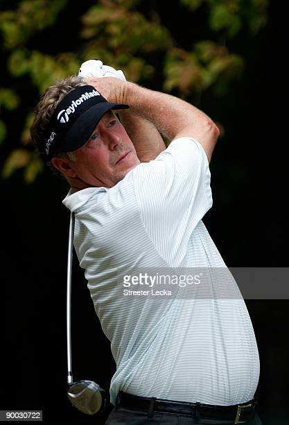 Michael Allen watches his tee shot on the 2nd hole during the final round of the Wyndham Championship at Sedgefield Country Club on August 23, 2009...