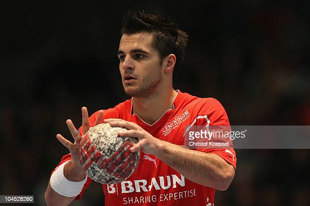 Michael Allendorf of Melsungen during the Toyota Handball Bundesliga match between MT Melsungen and THW Kiel at the Rotehnbach Hall on September 28...