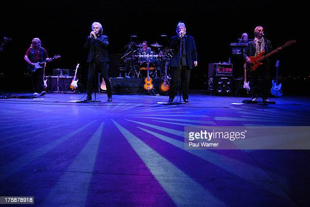 Michael Allsup, Danny Hutton, Pat Bautz, Cory Wells, Jimmy Greenspoon and Paul Kingery perform as Three Dog Night at Chene Park Amphitheater on...